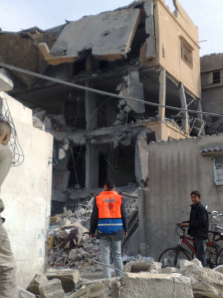 Caritas Medical Coordinator in Gaza Jouma Khadourah surveys what was once a Caritas Medical Centre. Israeli jets destroyed it on Friday causing US $10,000 worth of damage.