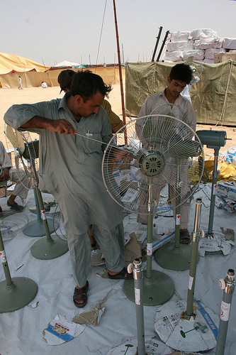 Electric fans are essential in the high temeperatures