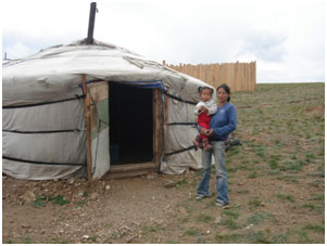 Many people's yurts were washed away by a landslide. They are hoping they will be rebuilt before icy temperatures set in. Credit: Caritas Monglia