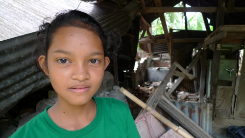 Maisie Wati escaped with her family to higher round when the quake hit