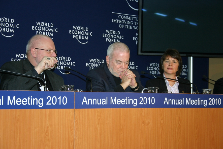 Caritas Internationalis Secretary General Lesley-Anne Knight with Archbishop Marx (left) and Jim Wallis. Credit: Caritas