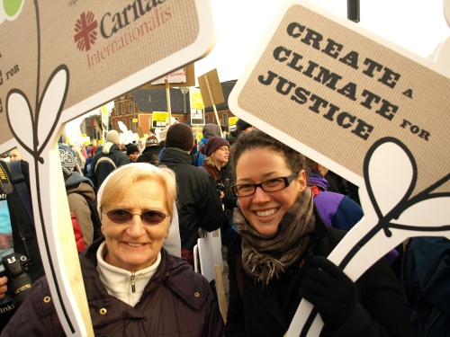 Sr Aine Hughes of Caritas South Africa and Christine Campeau, Caritas delegate at the UN in Geneva, marching for climate justice in Copenhagen in December. Credit: Nicholson/Caritas
