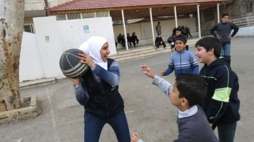 Caritas Jordan volunteers provide classes for Syrian children such as Maths, English and Arabic. They also provide a place for games and other activities.