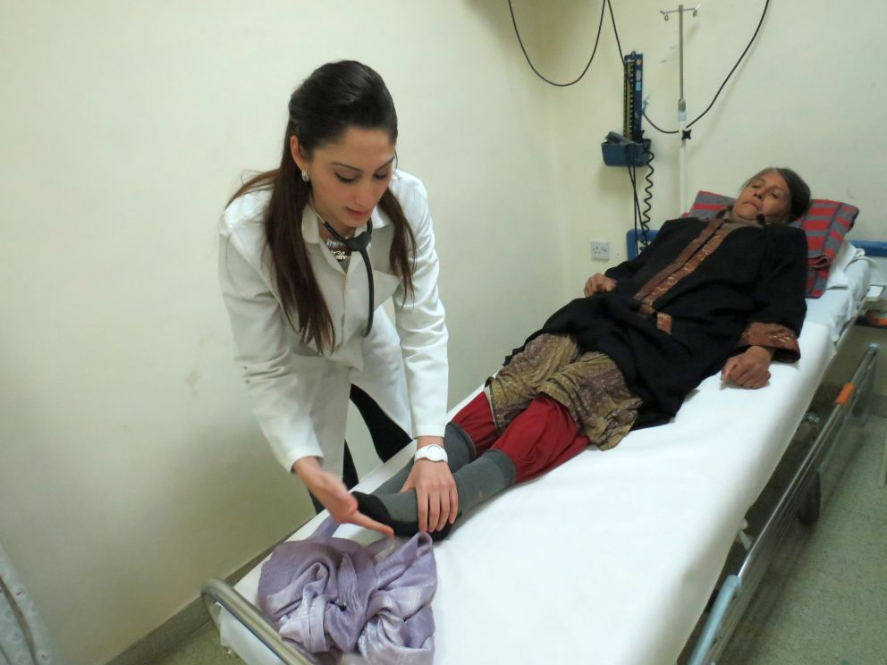 Halabia Althaner recieving treatment at the Italian Hospital in Amman.