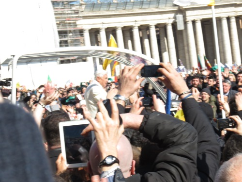 Pope Benedict makes his final tour of St Peter's Square as Pope. Copyright: Caritas/Michelle Hough