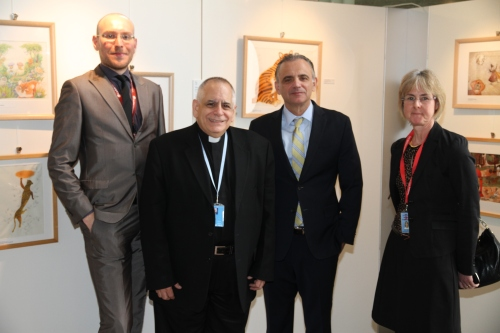 Stefano Nobile, Msgr Robert J Vitillo from Caritas Internationalis with Luiz Loures, director of UNAIDS executive office and Sally Smith from UNAIDS.