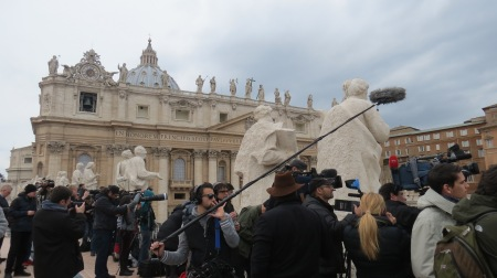Lenses from across the world are trained on the papal apartment for Pope Francis's first Sunday angelus. Credit: Caritas/Michelle Hough