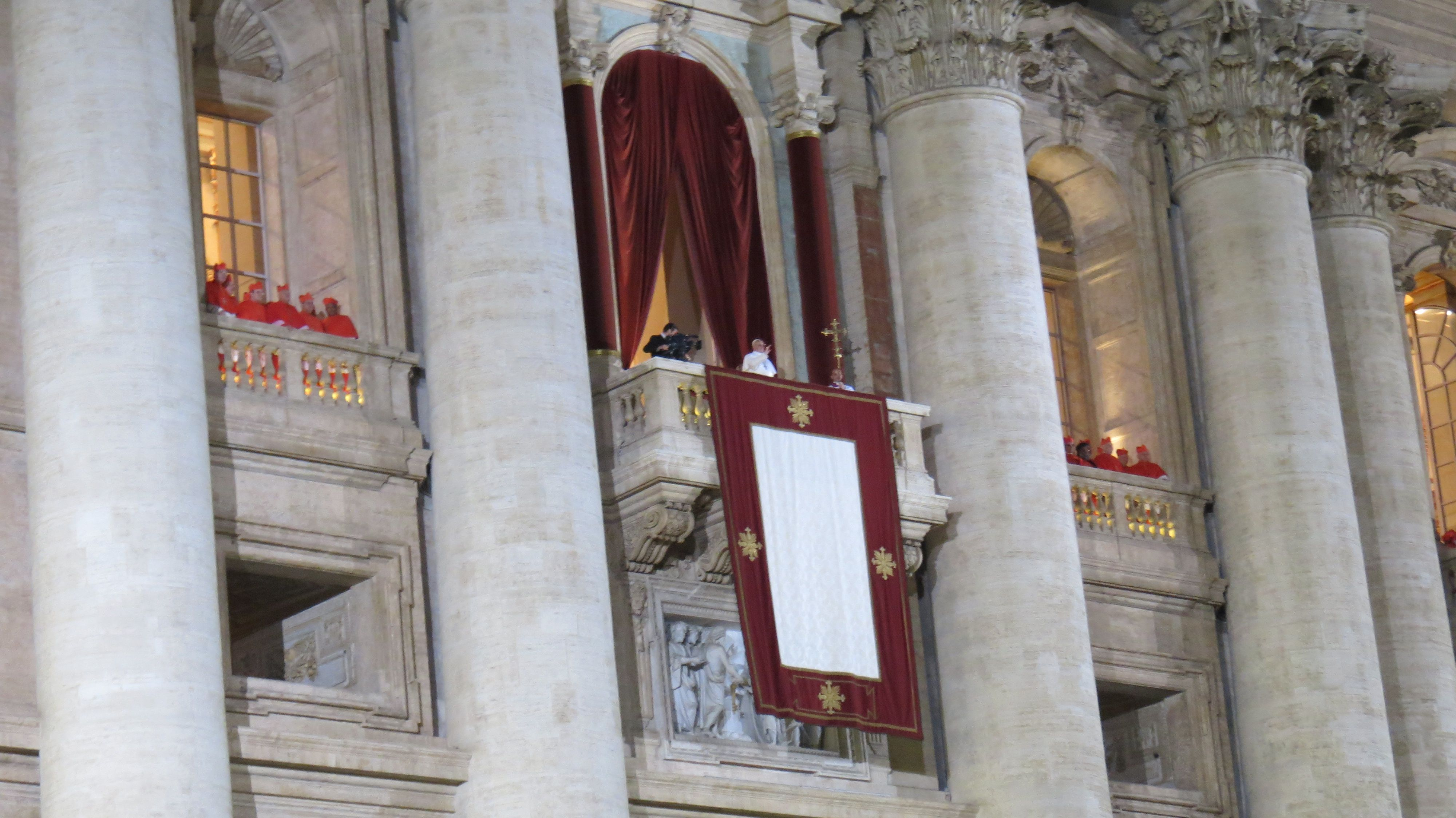 Pope Francis as he blesses the crowd at St Peter's Square on his election. Caritas/Patrick Nicholson