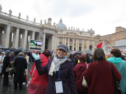 Michelle Hough waiting for the white smoke that hails a new Pope in St Peter's Square.