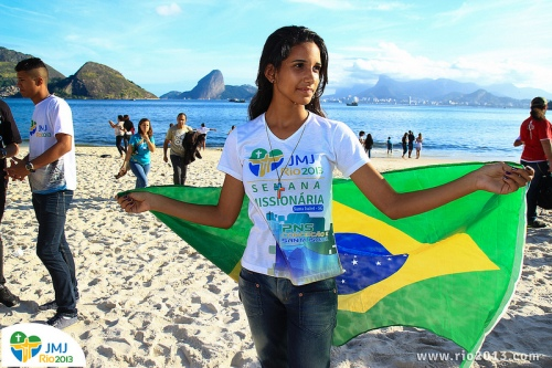 A pilgrim prepares for WYD in Rio. All image rights reserved by the Comunications Department of WYD 2013
