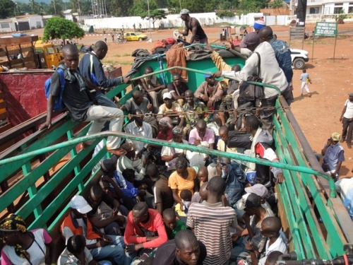 Eighteen trucks with 1500 teachers on board leave the capital Bangui today to return to their schools and start teaching again.  Credit: Cordaid