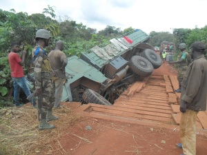 Caritas are delivering aid items like soap, kitchen utensils, covers, tarpaulins, hygiene kits, mosquito nets in the area. It's been hampered after a military truck overturned, preventing passage across a bridge.