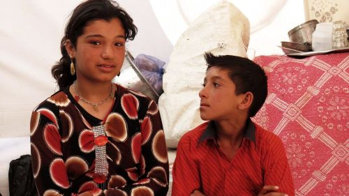 Gharam and her brother Nafeh are Syrian refugees now in Lebanon.  Their family has been torn apart by the war. Credit: Nicholson/Caritas